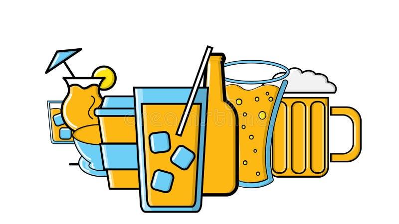 设置啤酒杯,并且鸡尾酒酒精喝在白色背景和茶隔绝的咖啡 r 皇族释放例证