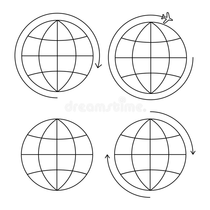 设置四个地球象稀薄的线 皇族释放例证