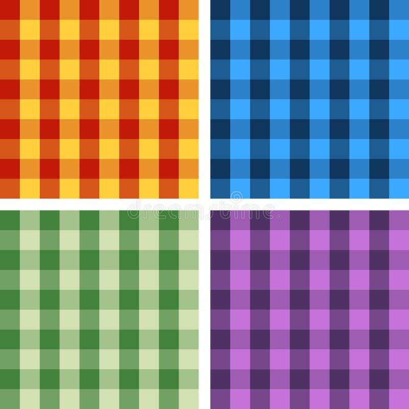 设置四个无缝的五颜六色的方格花布方格的样式 皇族释放例证