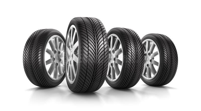 设置四个车轮和轮胎 皇族释放例证