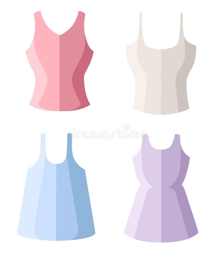 设置四名妇女无袖衫 女性夏天衣裳 在白色背景隔绝的平的传染媒介例证 向量例证