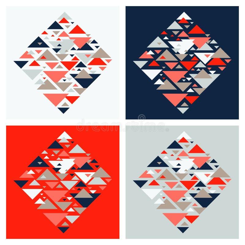 设置四抽象几何背景-多色三角马赛克样式 皇族释放例证