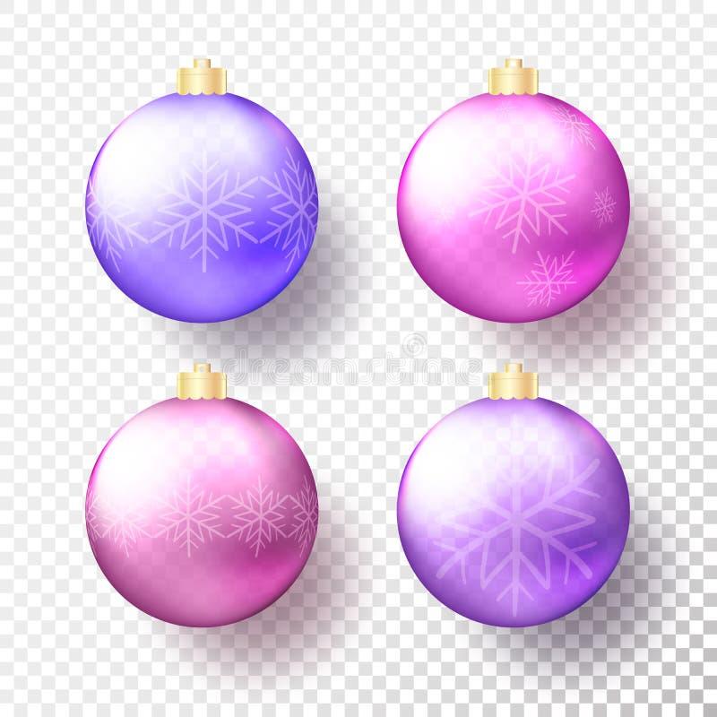 设置四现实色的圣诞节或新年透明中看不中用的物品、球形或者球在明亮的紫色颜色与金黄盖帽 库存例证