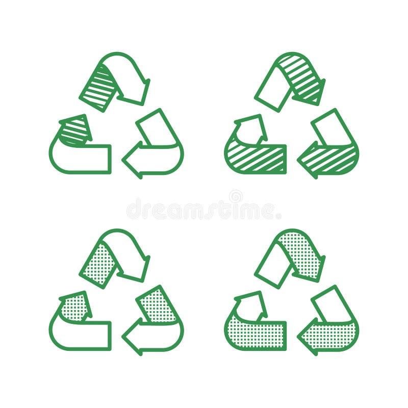 设置回收标志 与平的样式的象与被加点的纹理 E 库存例证