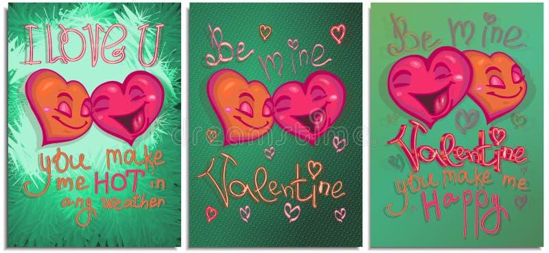 设置图表明信片,海报,为愉快的情人节 愉快的坠入爱河颜色明亮的动画片的心脏和做 皇族释放例证