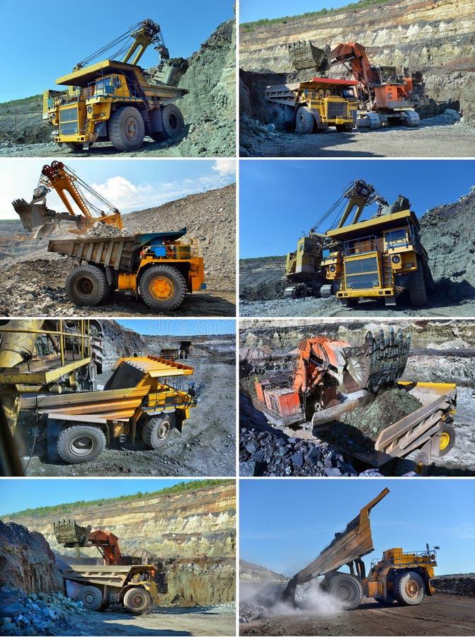 设置图象大猎物翻斗车 装载岩石在dumpe 免版税库存图片