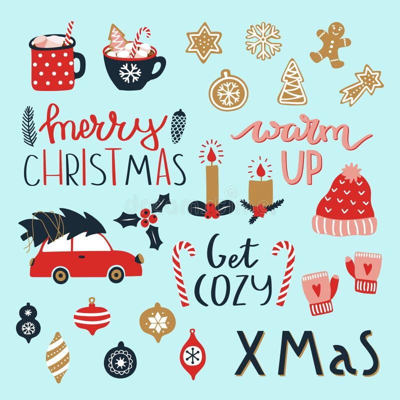设置圣诞快乐和新年快乐元素 舒适冬天季节 库存例证