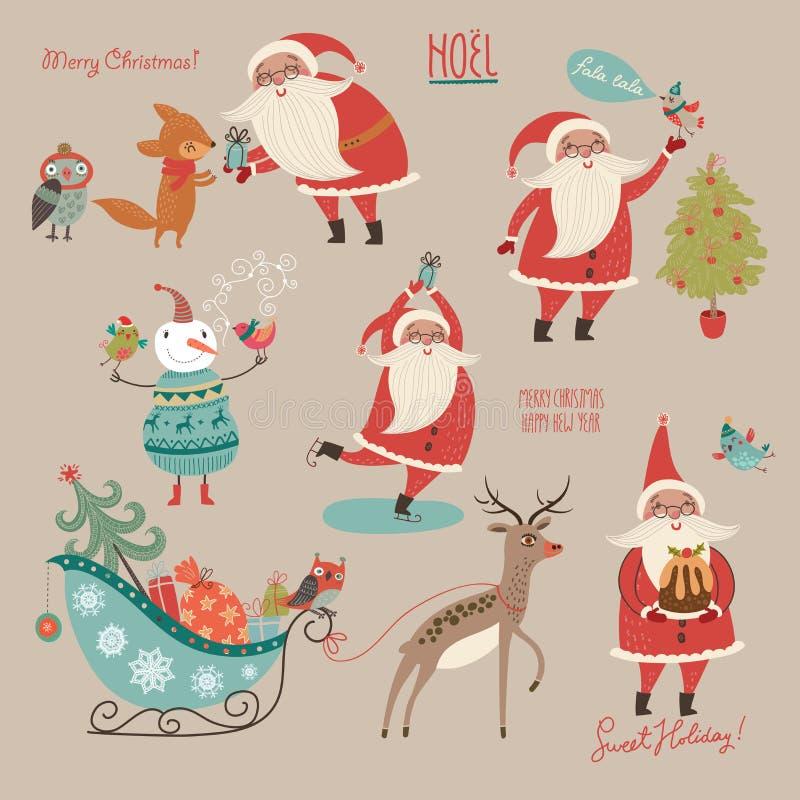 设置圣诞快乐和新年快乐! 向量例证