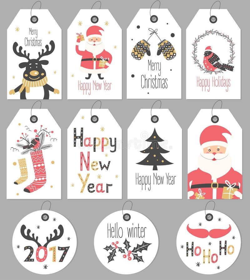 设置圣诞快乐,并且新年礼物标记和卡片 库存例证