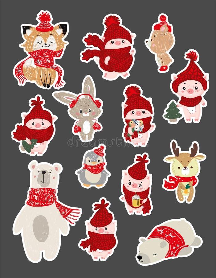 设置圣诞节和新年庆祝的逗人喜爱的卡通人物例证 冬天在围巾和帽子的森林地动物 库存例证