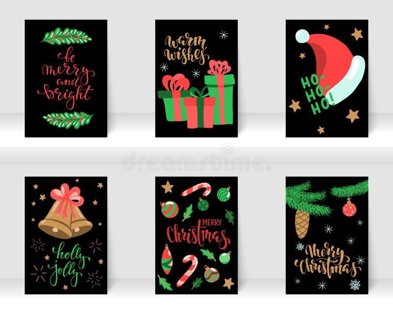 设置圣诞节和新年快乐与书法和手拉的元素的贺卡 设计假日贺卡和 库存照片