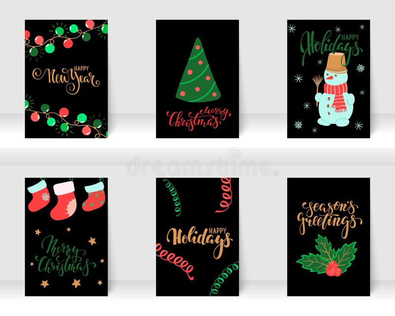 设置圣诞节和新年快乐与书法和手拉的元素的贺卡 设计假日贺卡和 库存图片
