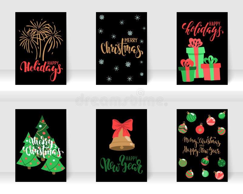 设置圣诞节和新年快乐与书法和手拉的元素的贺卡 设计假日贺卡和 免版税库存照片