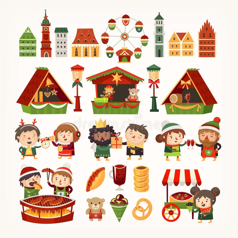 设置圣诞节市场元素 经典欧洲大厦,卖物品,人们的帐篷烹调冬天款待 皇族释放例证