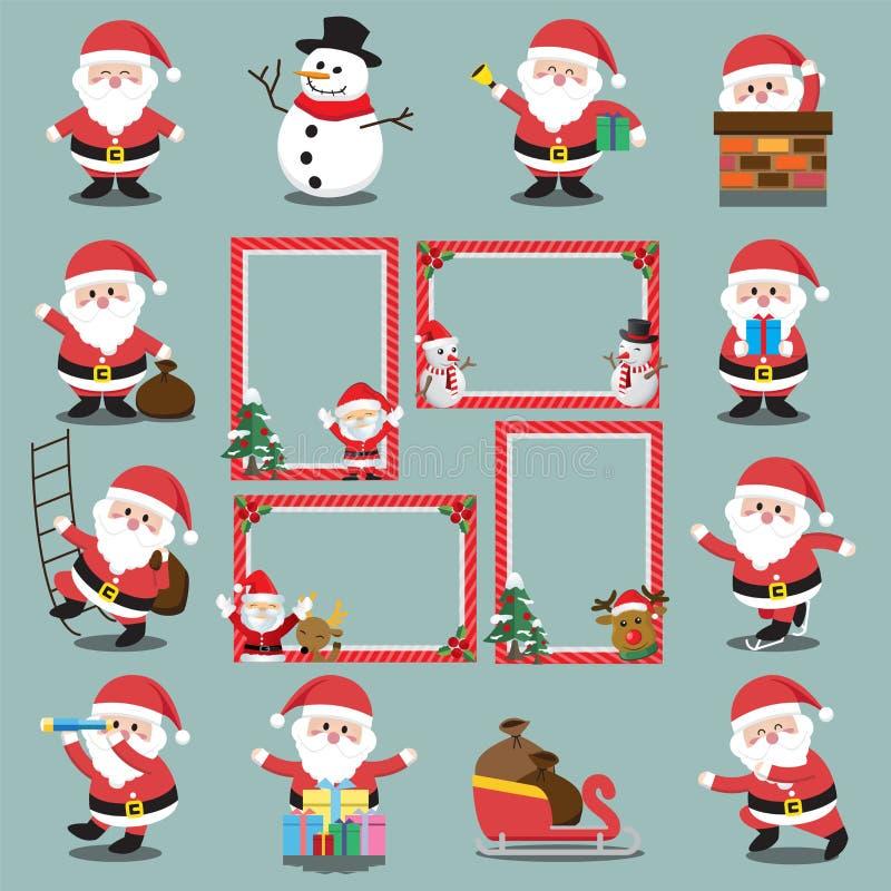 设置圣诞节框架,传染媒介圣诞节边界,圣诞节框架图片 库存例证