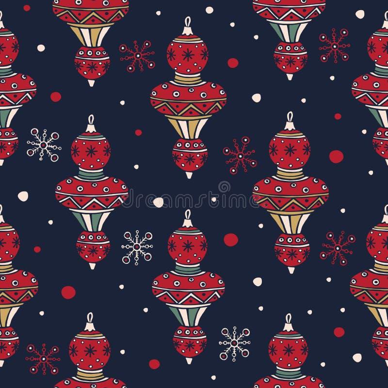设置圣诞节织品和装饰的圣诞节树装饰 圣诞快乐和新年好 库存例证