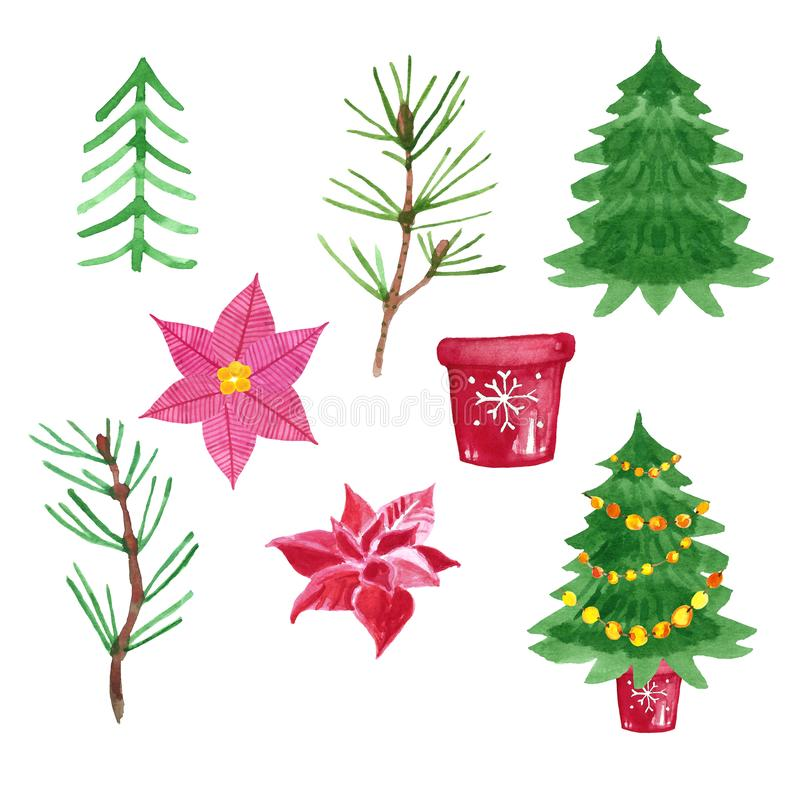 设置圣诞节绿色树和红色一品红花与装饰罐,手拉的水彩例证 免版税库存图片