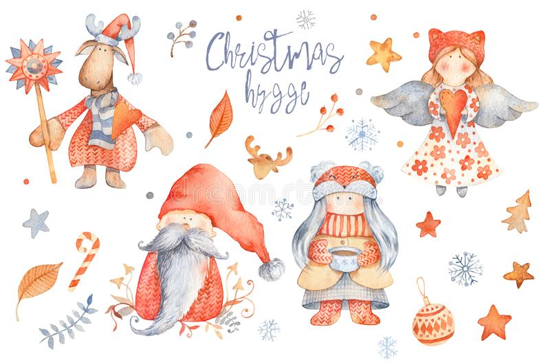 设置圣诞节Hygge逗人喜爱的卡通人物-地精,女孩机智 向量例证