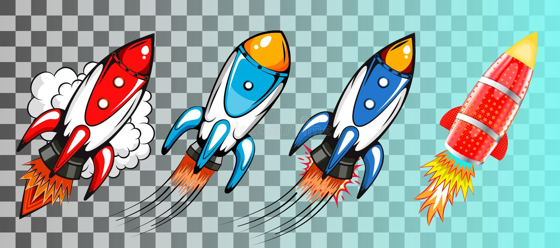 设置在减速火箭的流行艺术样式传染媒介的火箭 向量例证