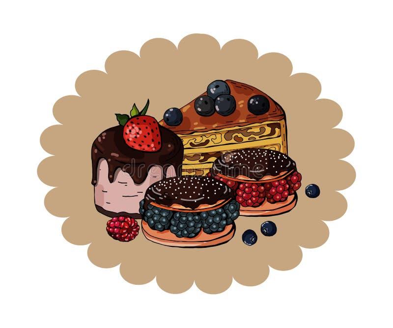 设置在圈子含沙背景,传染媒介的五颜六色的甜蛋糕 库存例证