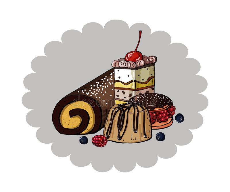 设置在圈子蓝色背景,传染媒介的五颜六色的甜蛋糕 库存例证