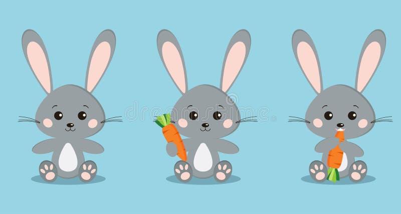 设置在坐的姿势的被隔绝的逗人喜爱的灰色兔子用在爪子的红萝卜,吃红萝卜 向量例证
