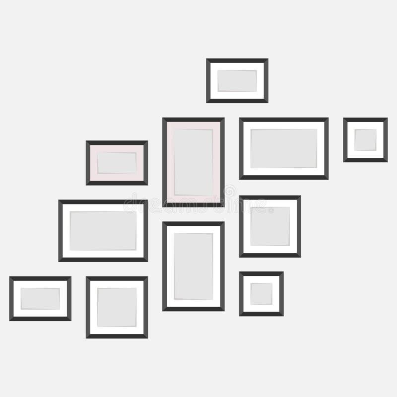 设置在墙壁,照片,空的框架f家谱上的框架  库存例证