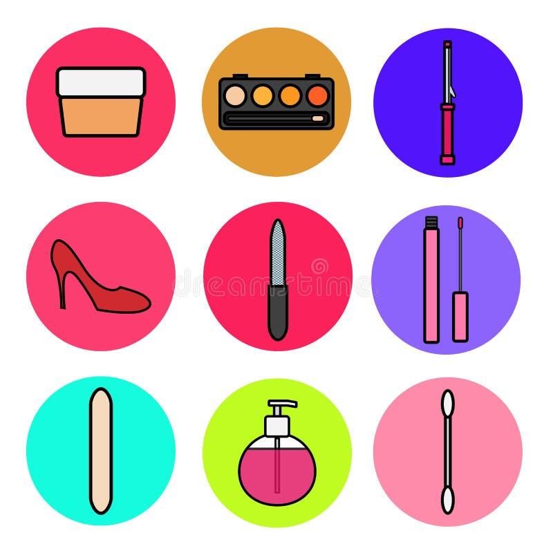 设置在平的样式时尚秀丽和女性化妆用品的迷人的项目象:奶油,粉末箱子,烫发钳,肥皂 向量例证