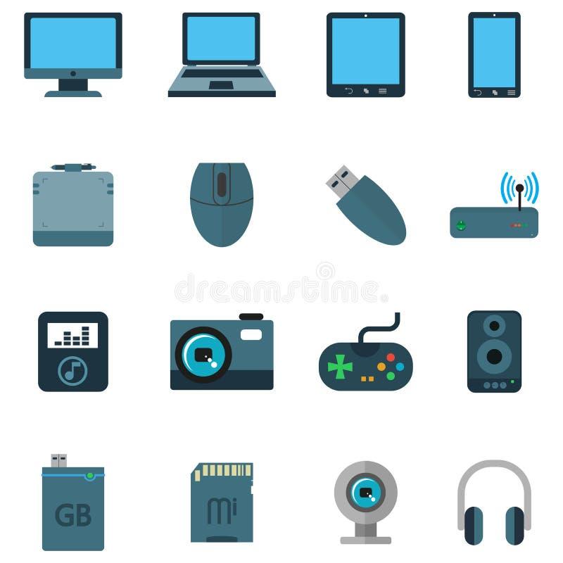 设置在平的样式的各种各样的技术设备 向量例证