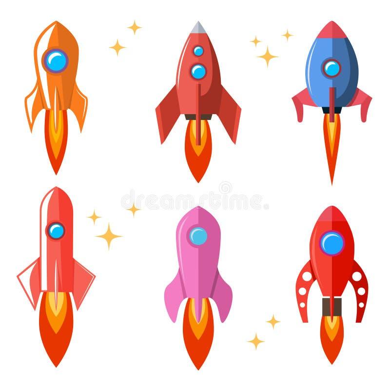 设置在平的样式的火箭 动画片太空飞船 海报的,卡片,横幅,飞行物,卡片设计元素 向量例证