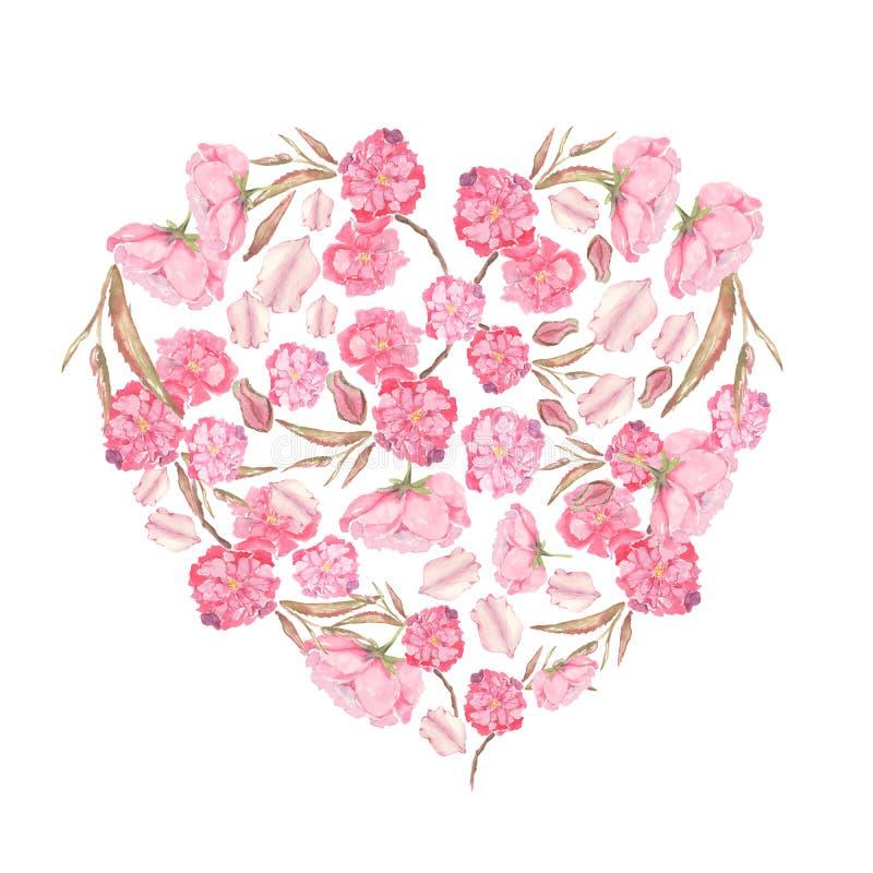 设置在心脏形成的桃红色苹果计算机和樱桃花的水彩例证 向量例证