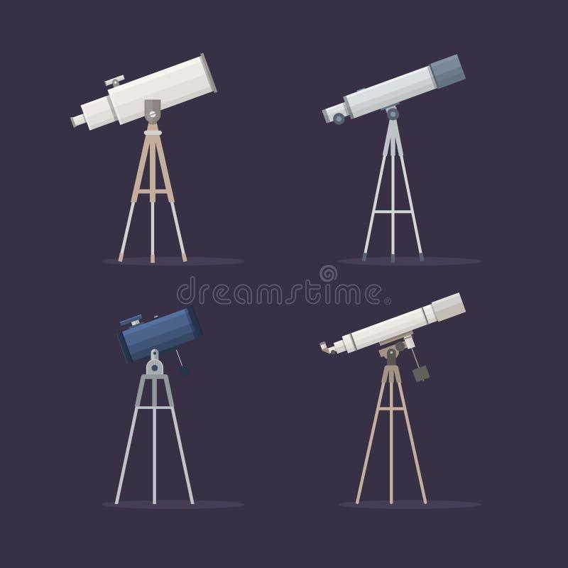设置在支持的望远镜观察星 库存例证