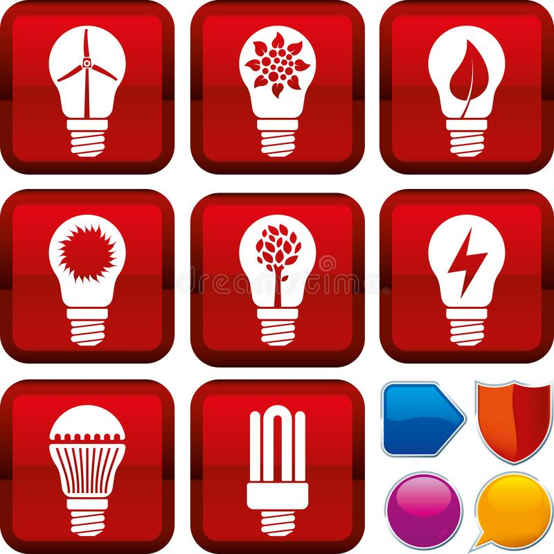 设置在方形的按钮的可再造能源象 r 向量例证