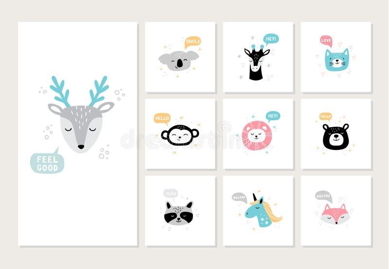 设置在明信片的逗人喜爱的手拉的动物 鹿、考拉、猴子、浣熊、狮子、熊,狐狸和其他的动画片面孔 向量例证