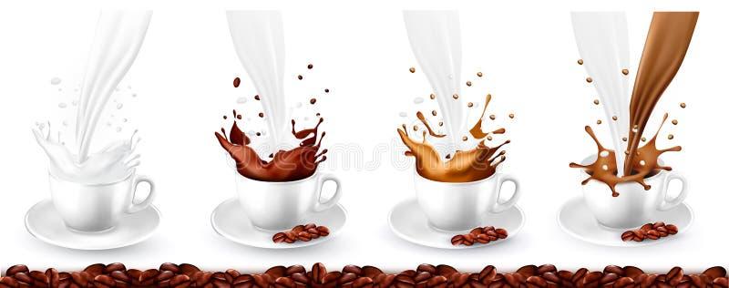 设置在杯子的咖啡、热奶咖啡和牛奶飞溅 向量例证