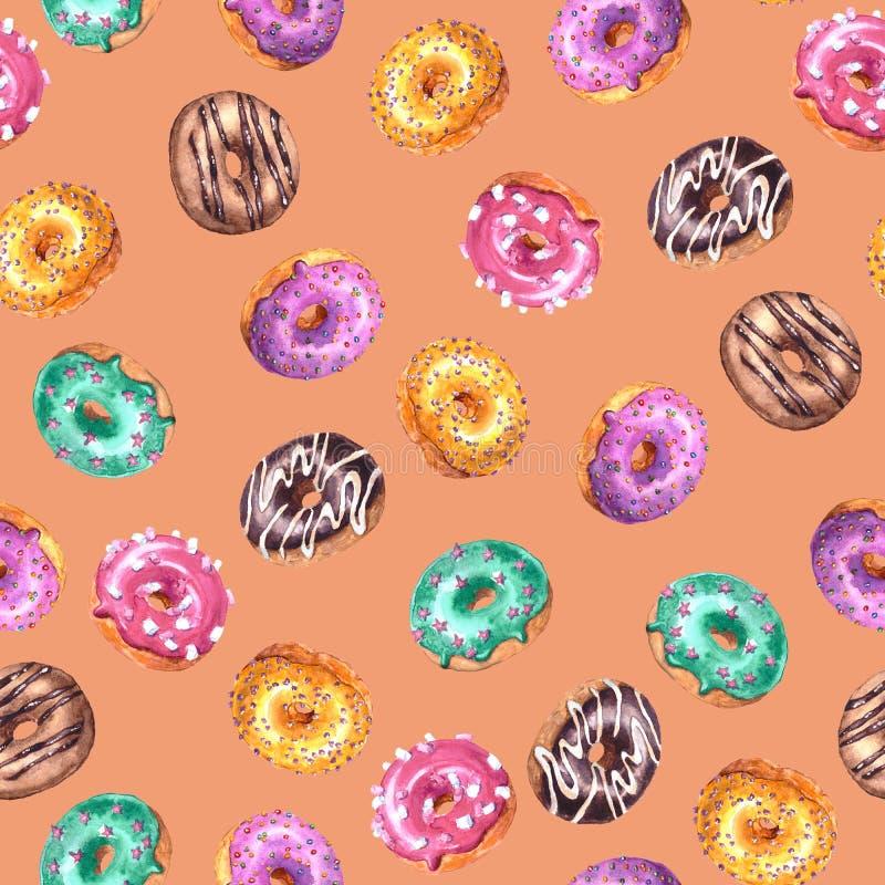 设置在桃子粉色背景隔绝的五颜六色的给上釉的油炸圈饼的水彩手拉的剪影例证 ?? 库存例证