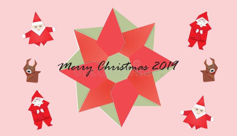 设置在桃红色背景、花圈和逗人喜爱的圣诞老人的圣诞节 库存例证