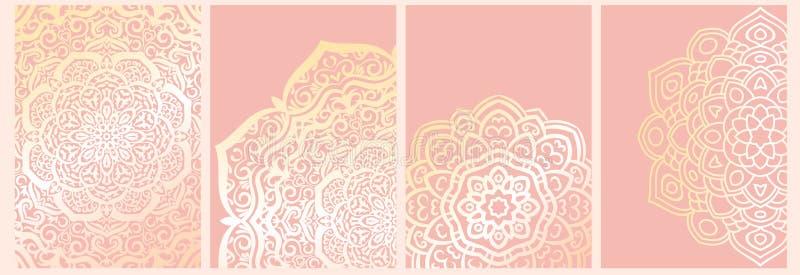 设置在桃红色隔绝的坛场背景 向量例证