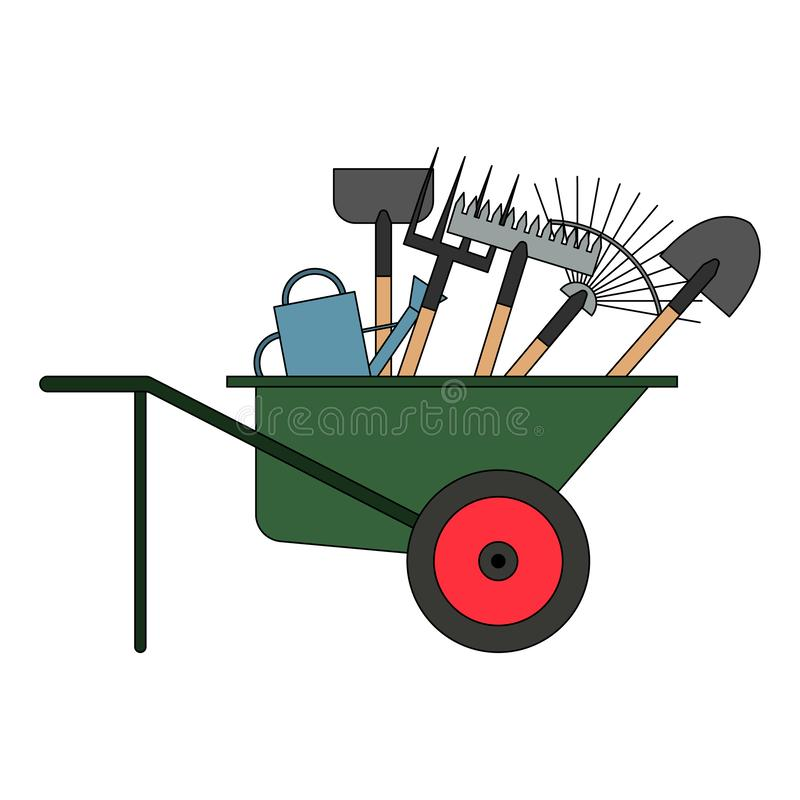 设置在独轮车的各种各样的园艺工具 从事园艺和种田的项目 设置农厂工具 庭院仪器汇集 向量例证