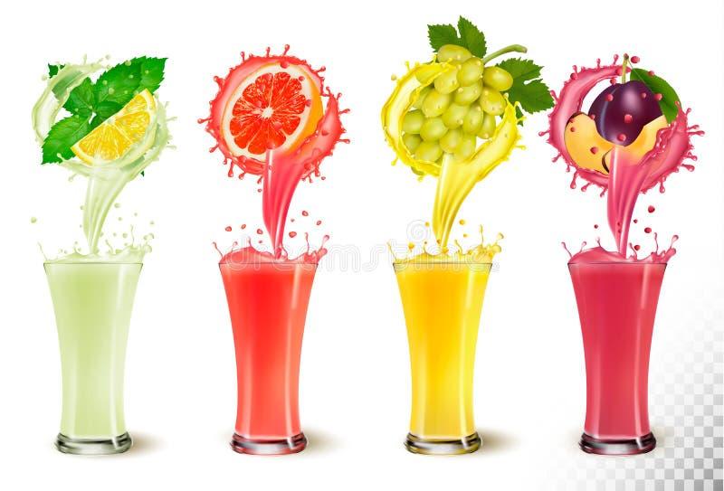 设置在玻璃的果汁飞溅 薄菏和柠檬,葡萄柚 向量例证