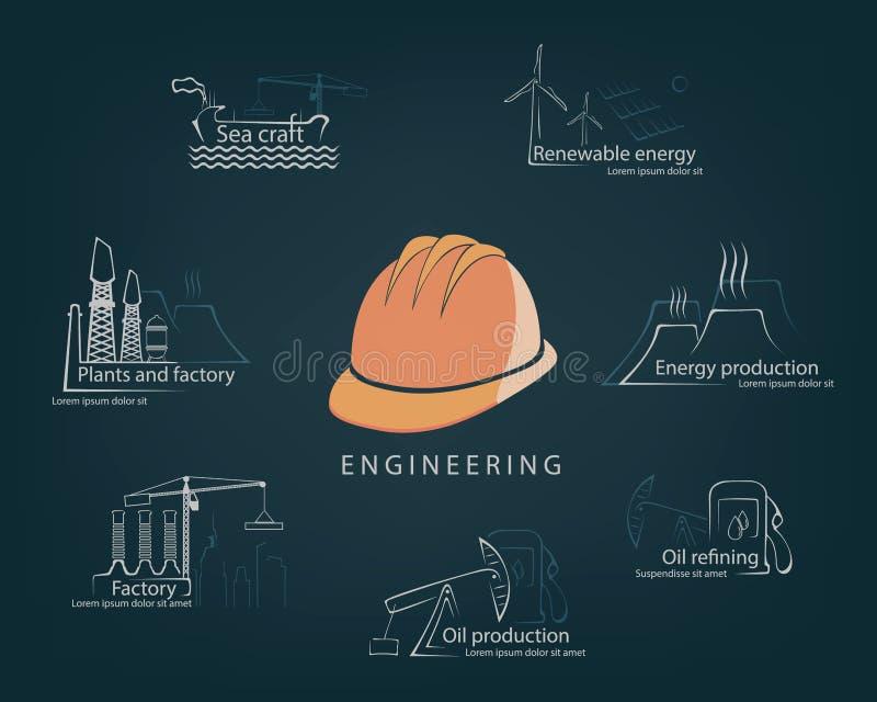 设置在生产和公民身份的工程学工程学 库存例证