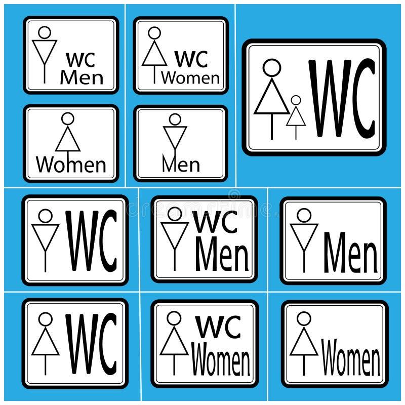 设置在白背景、男人和妇女-传染媒介例证的WCtoilet象黑稀薄的线 库存例证