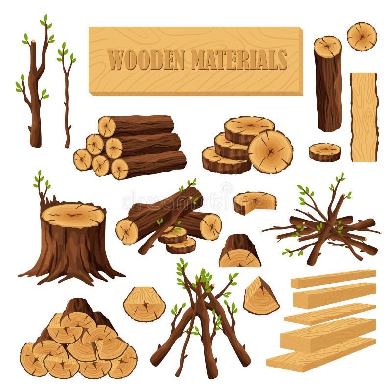 设置在白色背景木材产业的木柴材料隔绝的 木日志残余部分树干的汇集 向量例证