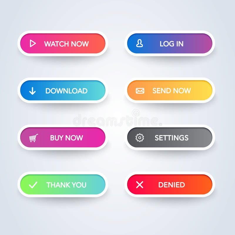 设置在白色背景的五颜六色的现代物质样式按钮 另外平的线梯度颜色和象汇集 Vecto 向量例证