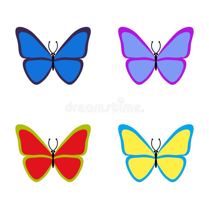 设置在白色背景的五颜六色的蝴蝶 也corel凹道例证向量 EPS10 向量例证