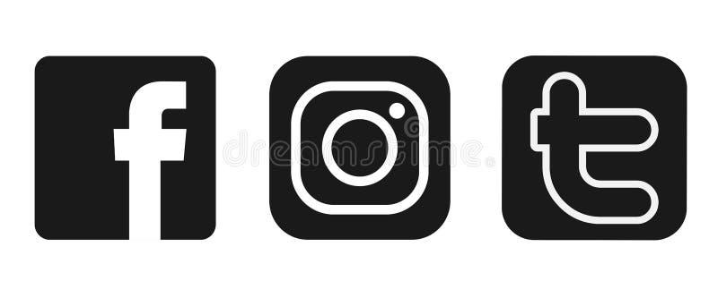 设置在白色背景的普遍的社会媒介商标象Instagram Facebook Twitter元素传染媒介 库存例证