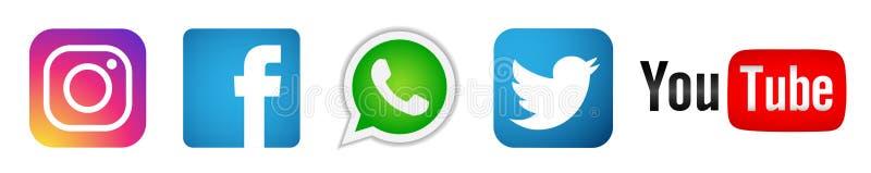 设置在白色背景的普遍的社会媒介商标象Instagram Facebook Twitter Youtube WhatsApp元素传染媒介 向量例证