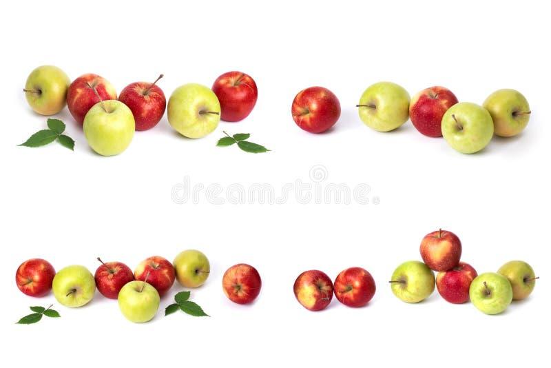 设置在白色背景的红色苹果 红色水多的苹果与黄色斑点的在白色背景 免版税库存照片