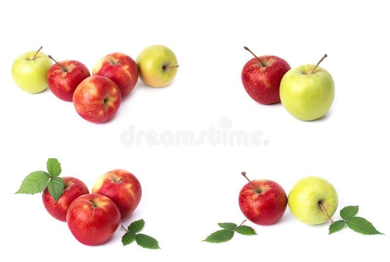 设置在白色背景的红色苹果 红色水多的苹果与黄色斑点的在白色背景 j的构成 图库摄影
