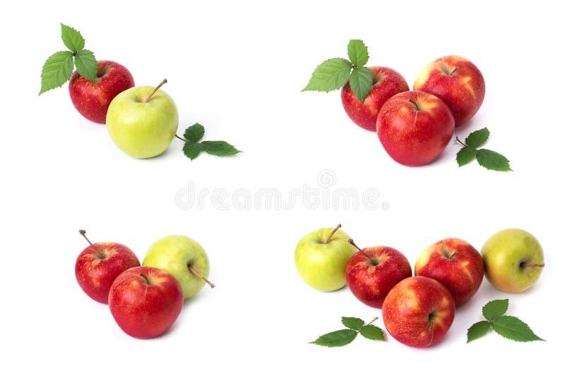 设置在白色背景的红色苹果 红色水多的苹果与黄色斑点的在白色背景 ju的构成 库存照片